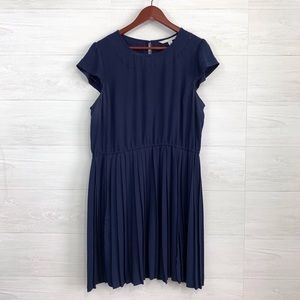 LC Lauren Conrad Navy Eyelet Cut Out Cap Slv Dress